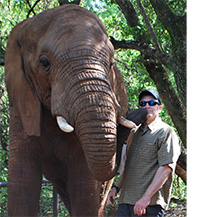 andrew collum with an elephant